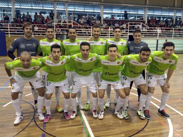 Formación del Palma Futsal en su estreno en la Copa del rey en Pallejà y estrenando la primera equipación