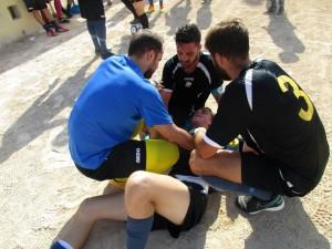 Lesionado Guierm Crespi en el encuentro Independiente-La Union
