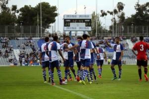 El CE.Sabadell celebra el empate ante el RCD.Mallorca B.