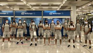 El Palma Futsal, al completo, antes de iniciar el viaje a Ferrol