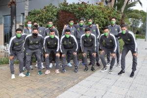 La expedición del Palma Futsal posa en Valencia-