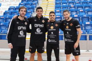 Los cuatro internacionales del Palma Futsal posan en Son Moix