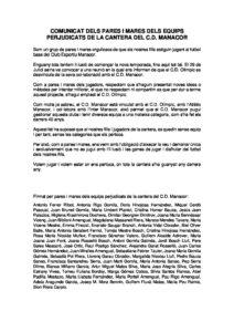 COMUNICAT DELS PARES I MARES PERJUDICATS DE LA CANTERA DEL CD MANACOR